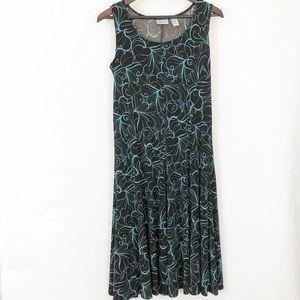 Chico's Midi Deep Brown Print Dress Size 1 / US 8